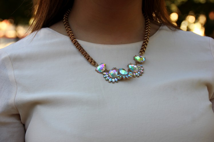 crystal necklace pink blouse