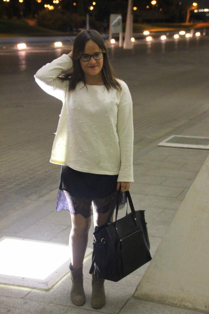 lace dress & sweatshirt