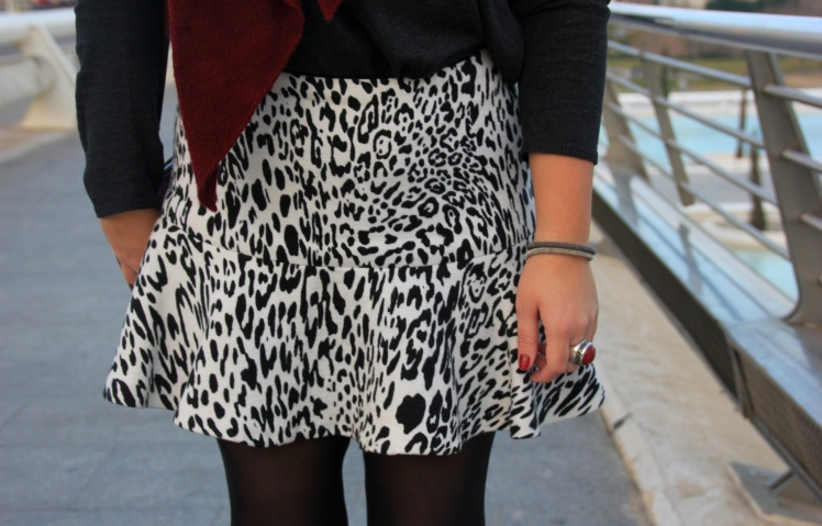 cebra skirt animal print black and white