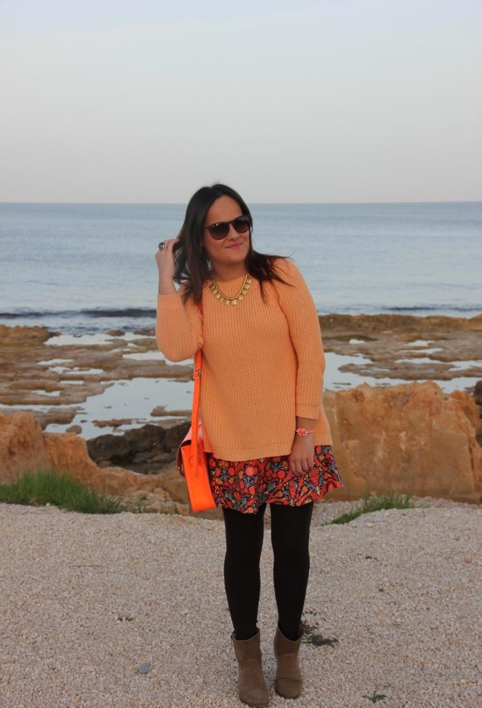 orange flower skirt zara orange jumper