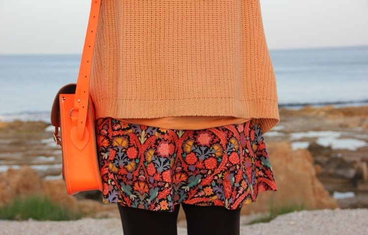 orange skirt flowers sara neon satchel bag