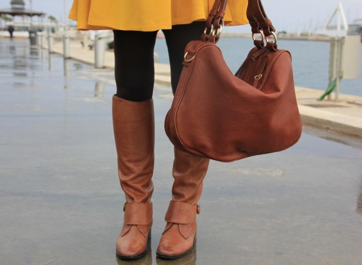 brown high boots_yellow dress zara