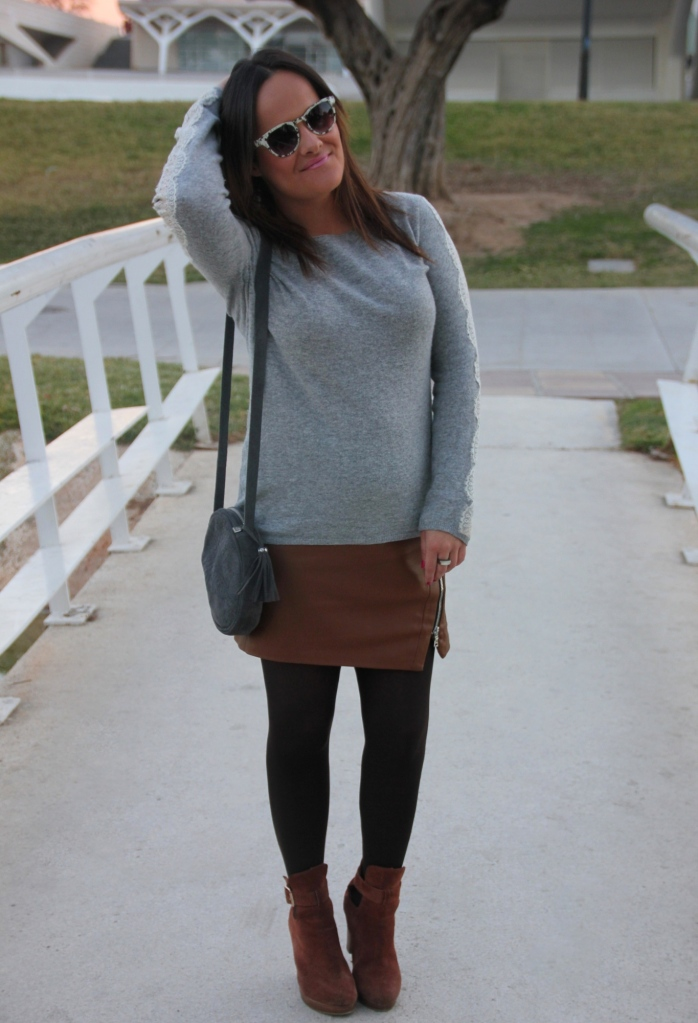 brown leather skirt lace jumper