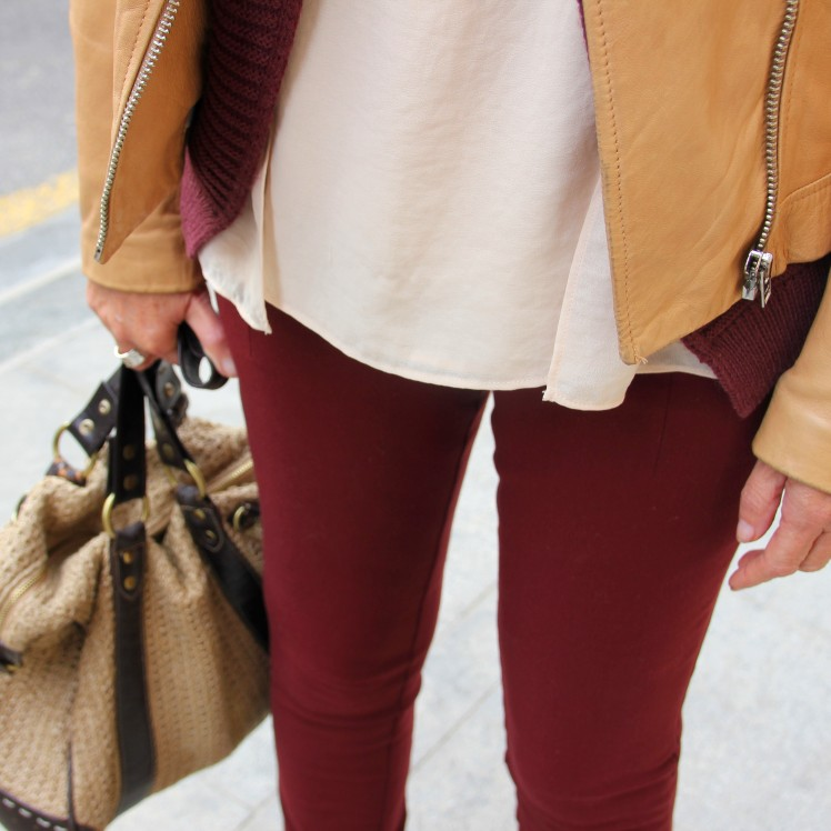 burgundy and beige leather jacket