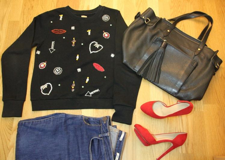 chandelier sweatshirt red heels
