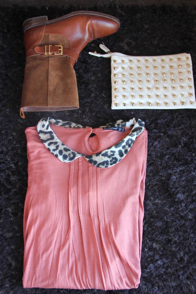 collar animal print dress stud clutch