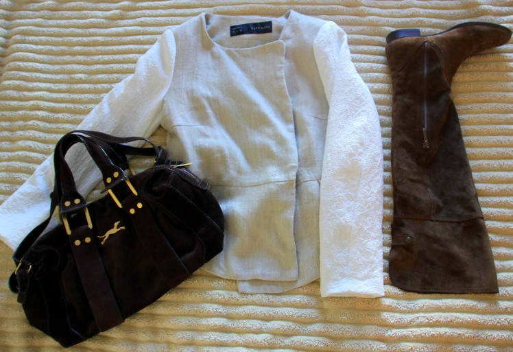 combi jacket white and beige high suede knee boot