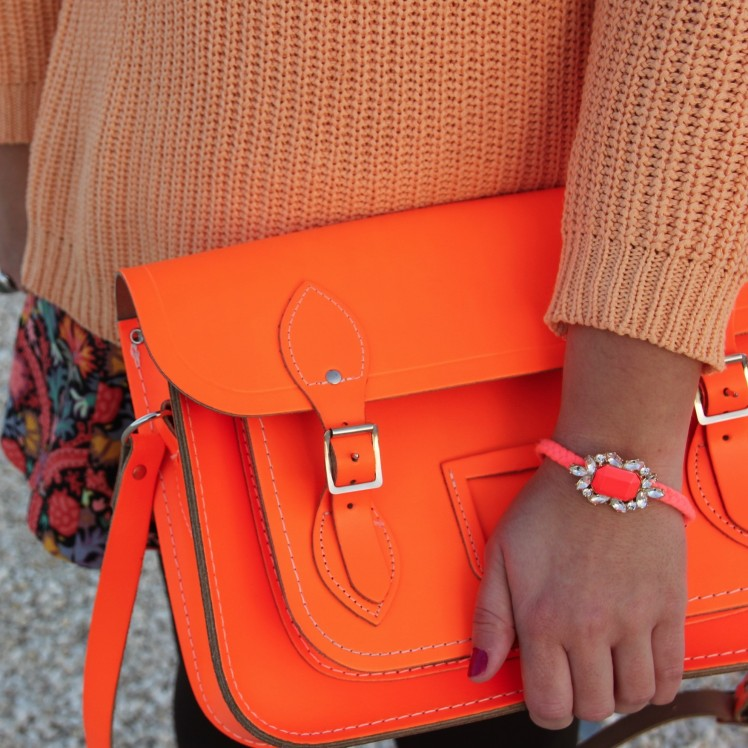 neon orange cambridge satchel bag