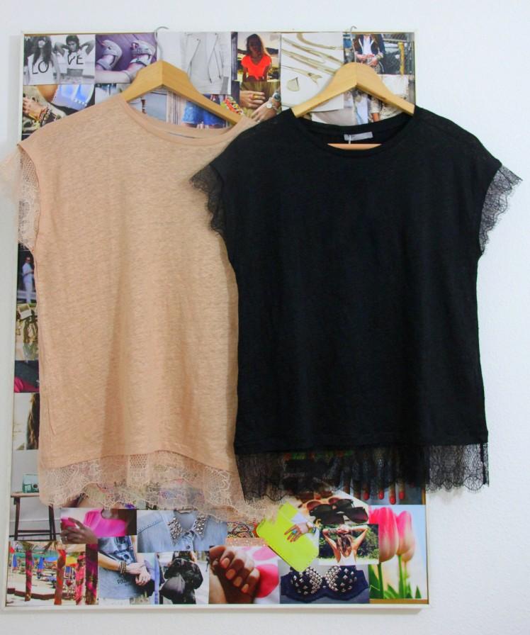 nude and black lace tshirts zara