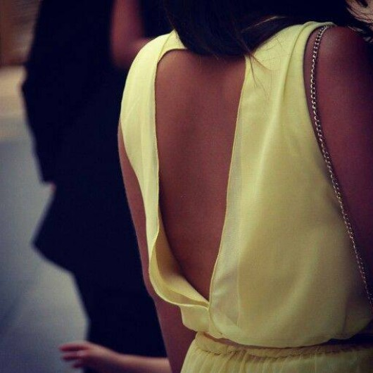 open back yellow dress