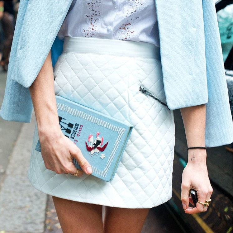 pastel blue outfit leather skirt