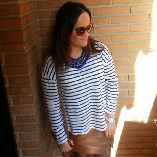 stripe shirt and leather brown skirt