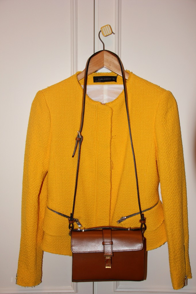 yellow tweed jacket zara