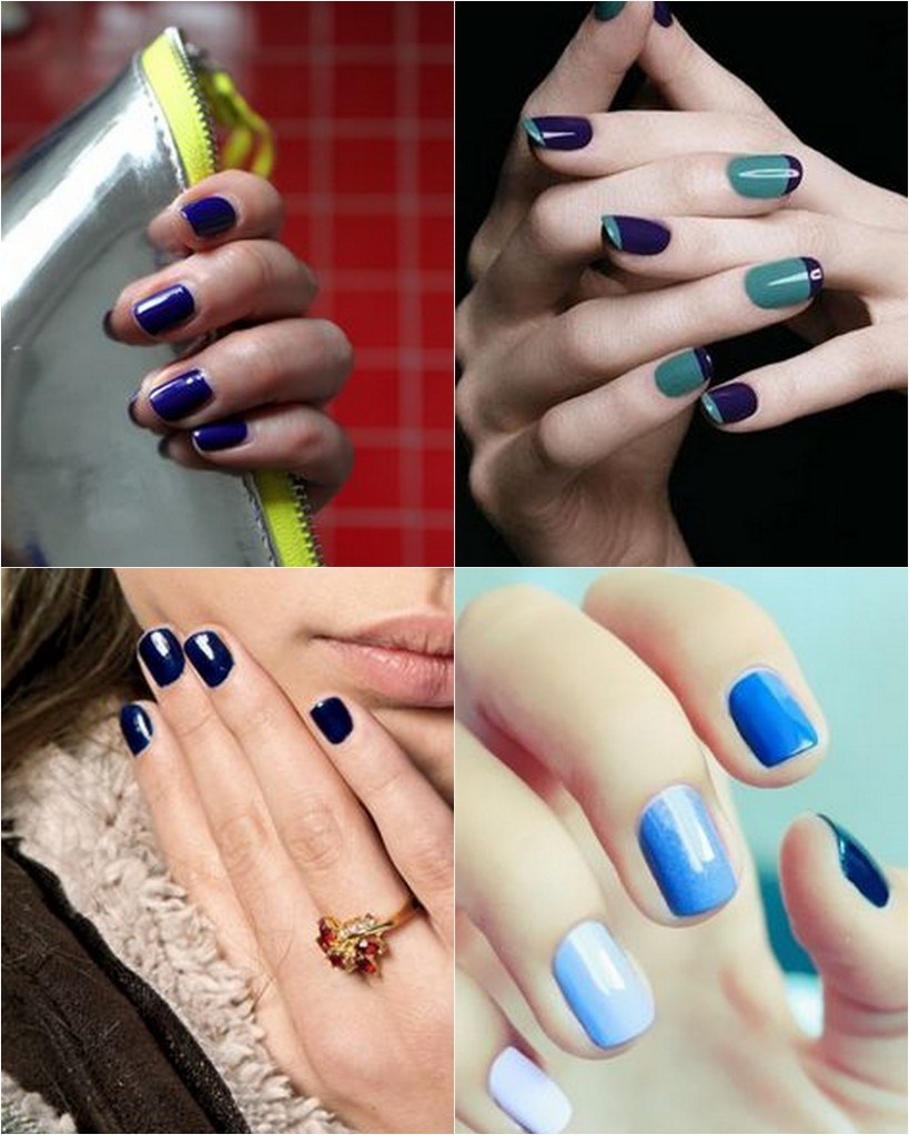 blue colour nails