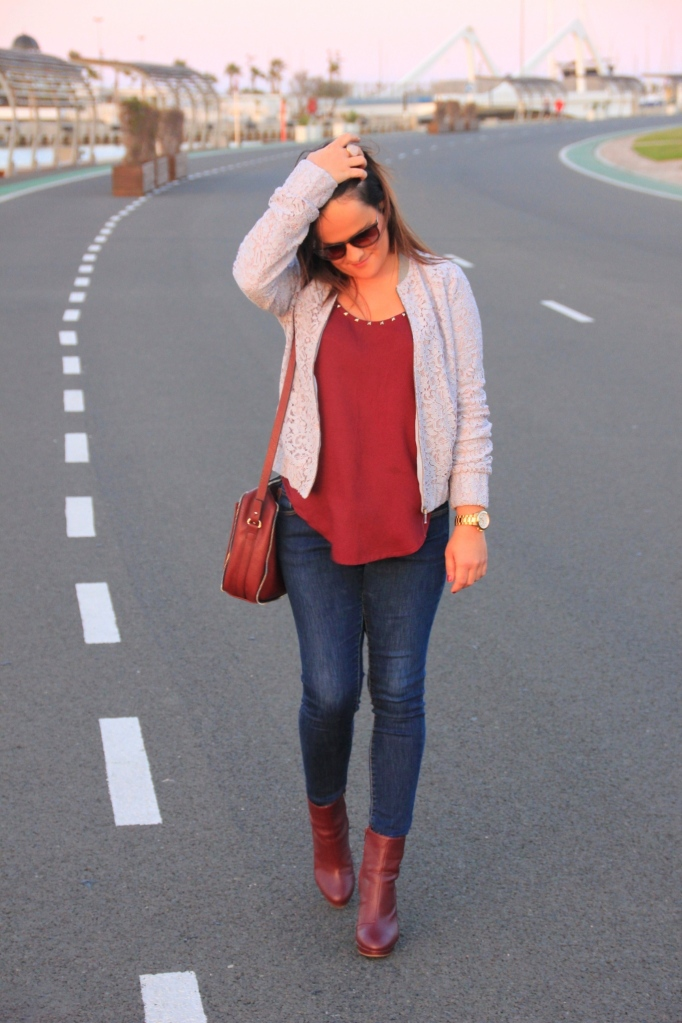 burgundy and pastel blue outfit