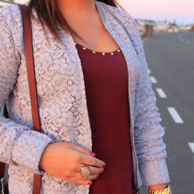 burgundy studs shirt lace pastel blue jacket