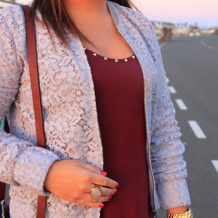 burgundy studs shirt lace pastel blue jacket