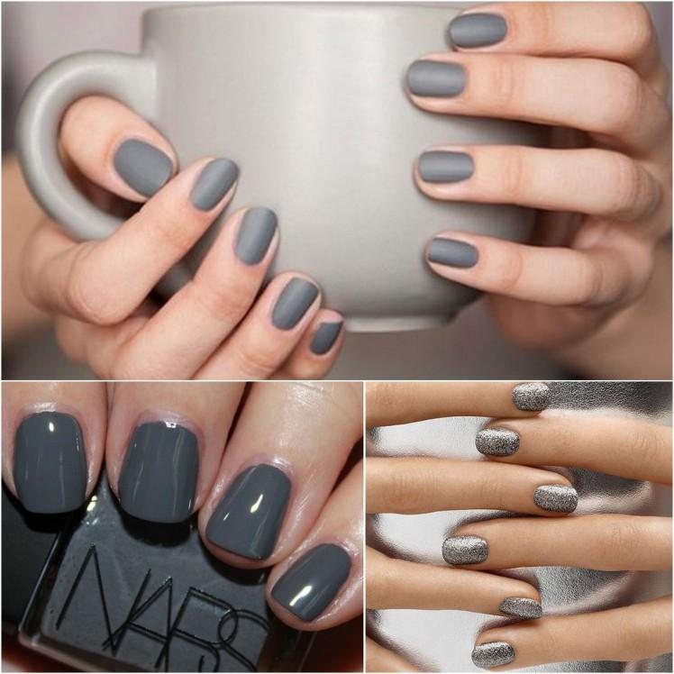 silver grey nails