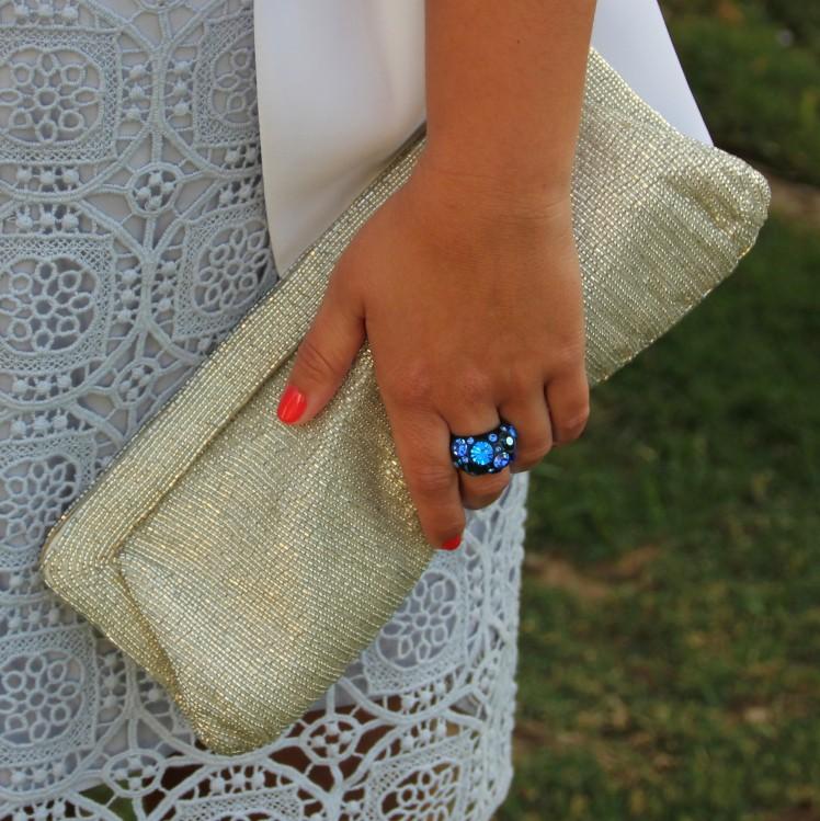 falda encaje azul americana blanca