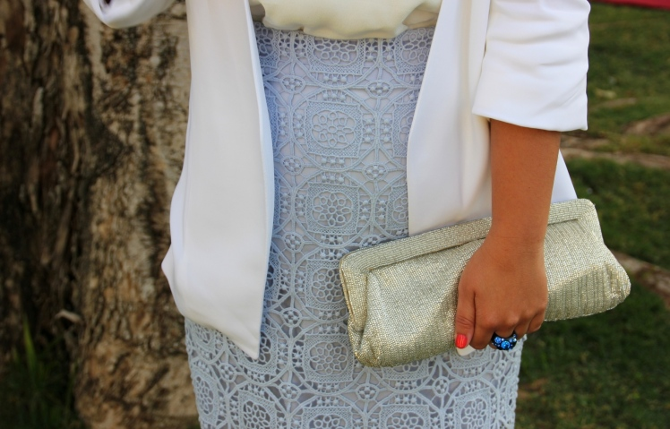 white blazer white wedding outfit