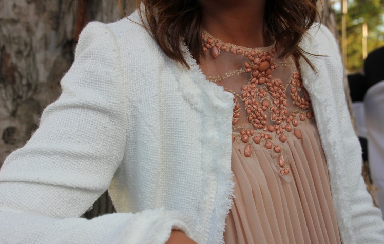 white tweed jacket