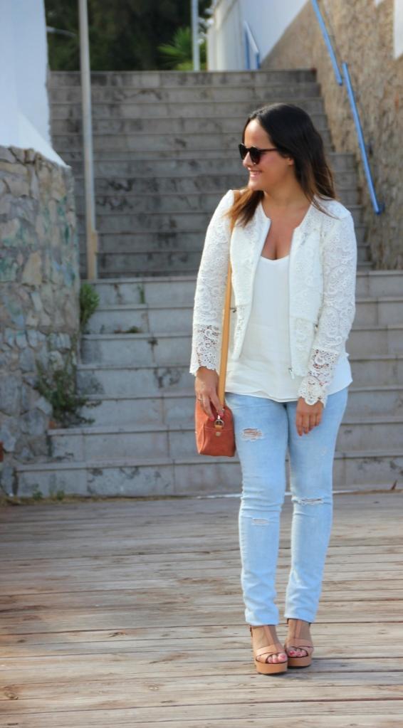 chaqueta de encaje blanca zara, white crochet lace jacket