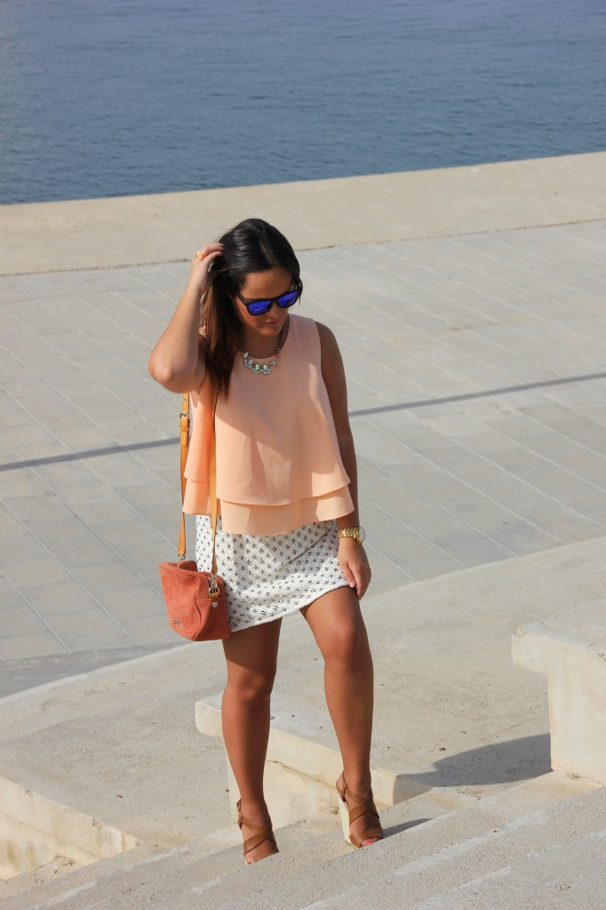 coral top jewel skirt zara
