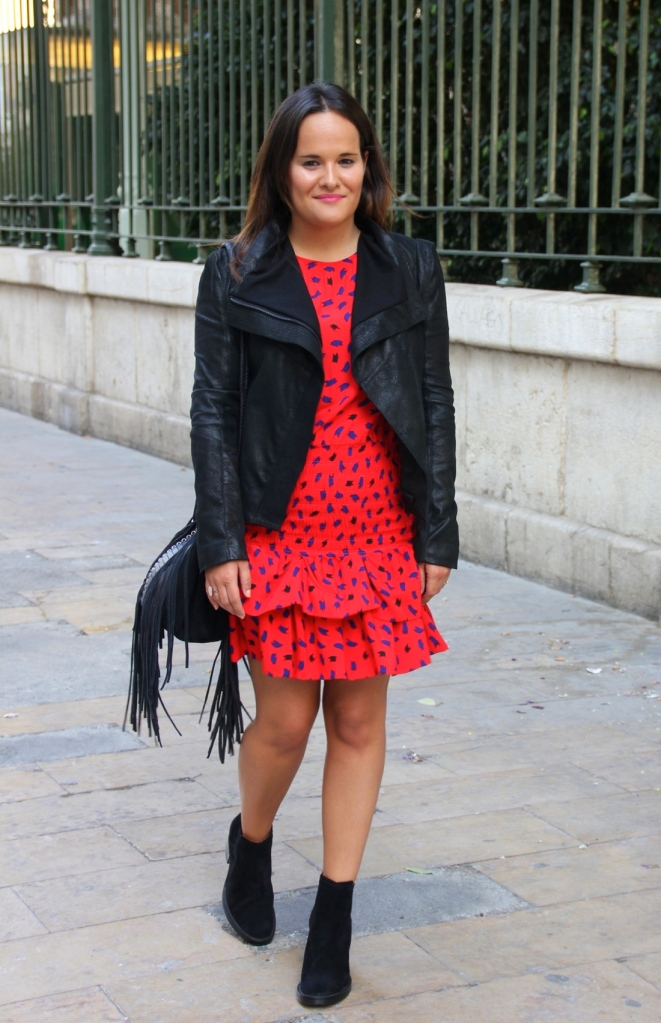 red dress, leather black jacket