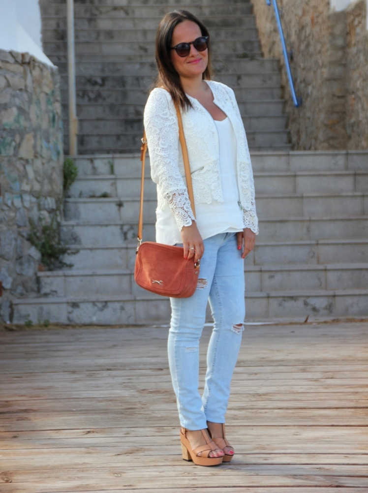 ripped jeans white crochet lace jacket zara