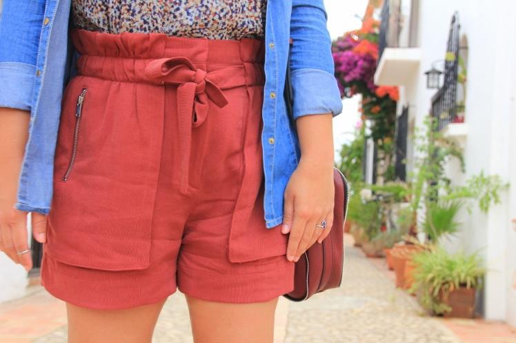 burgundy shorts zara