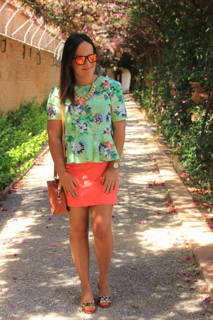 peplum flowers shirt