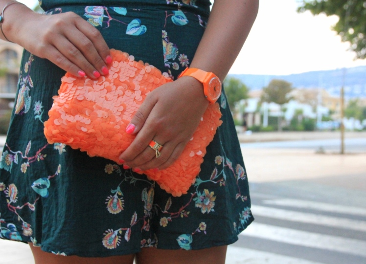 bolso de lentejuelas naranja_orange sequins bag