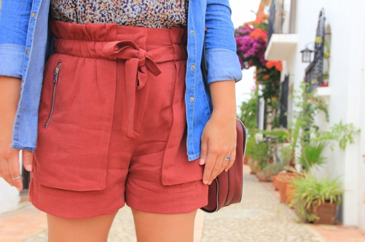 burgundy shorts zara