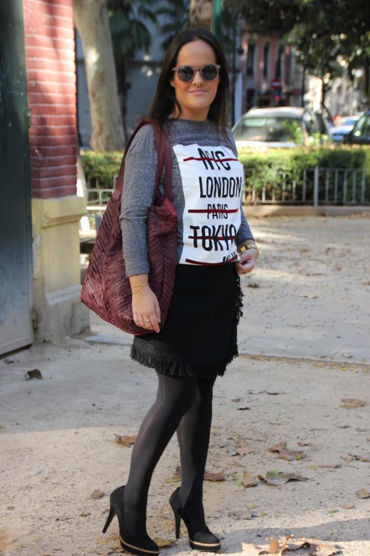 falda tweed negra zara