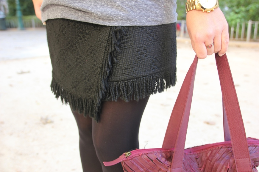 falda tweed negra