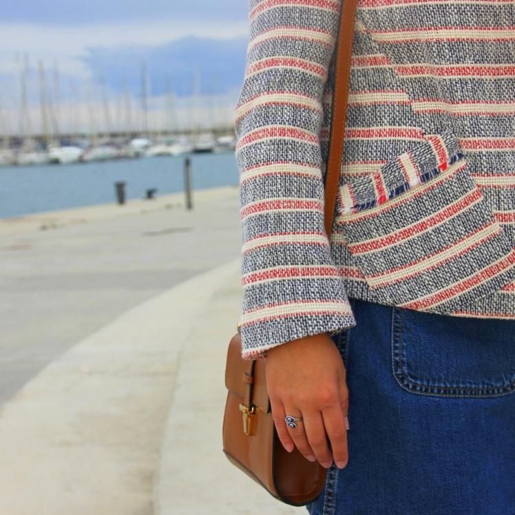 blazer marinera rayas blanca roja azul zara tweed