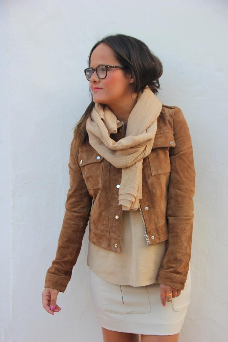 chaqueta de ante marrón