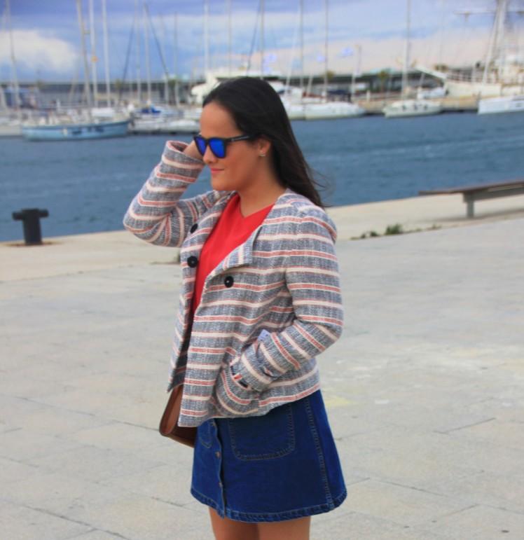 chaqueta tweed marinera zara