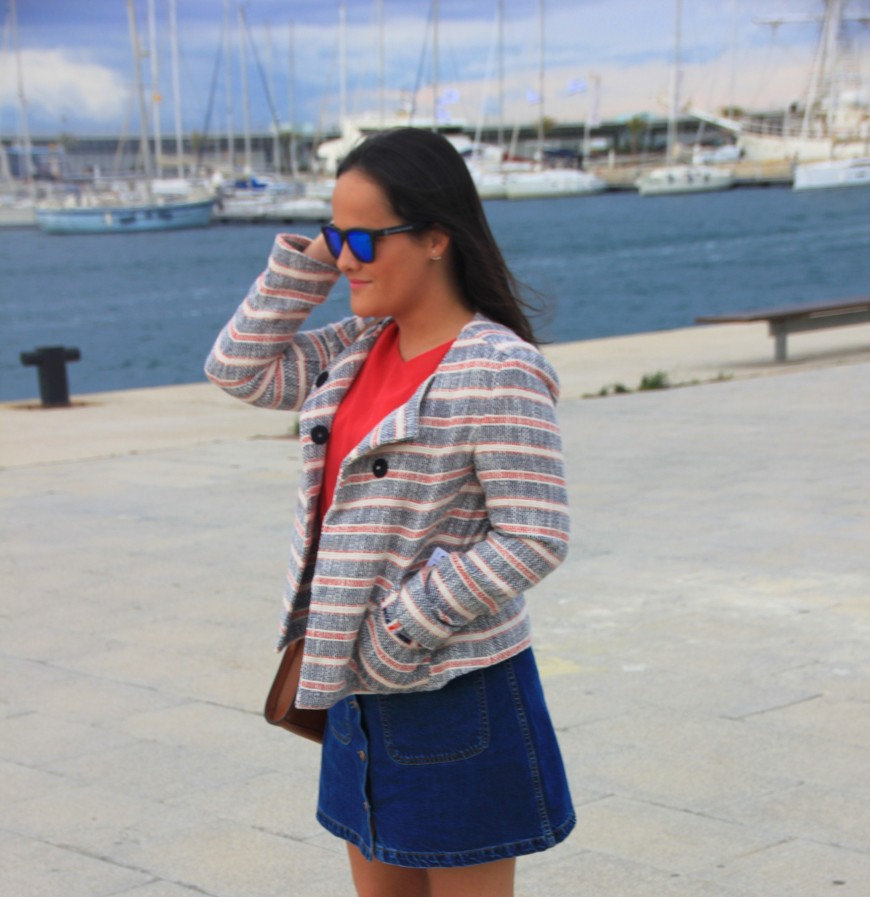 chaqueta tweed marinera zara