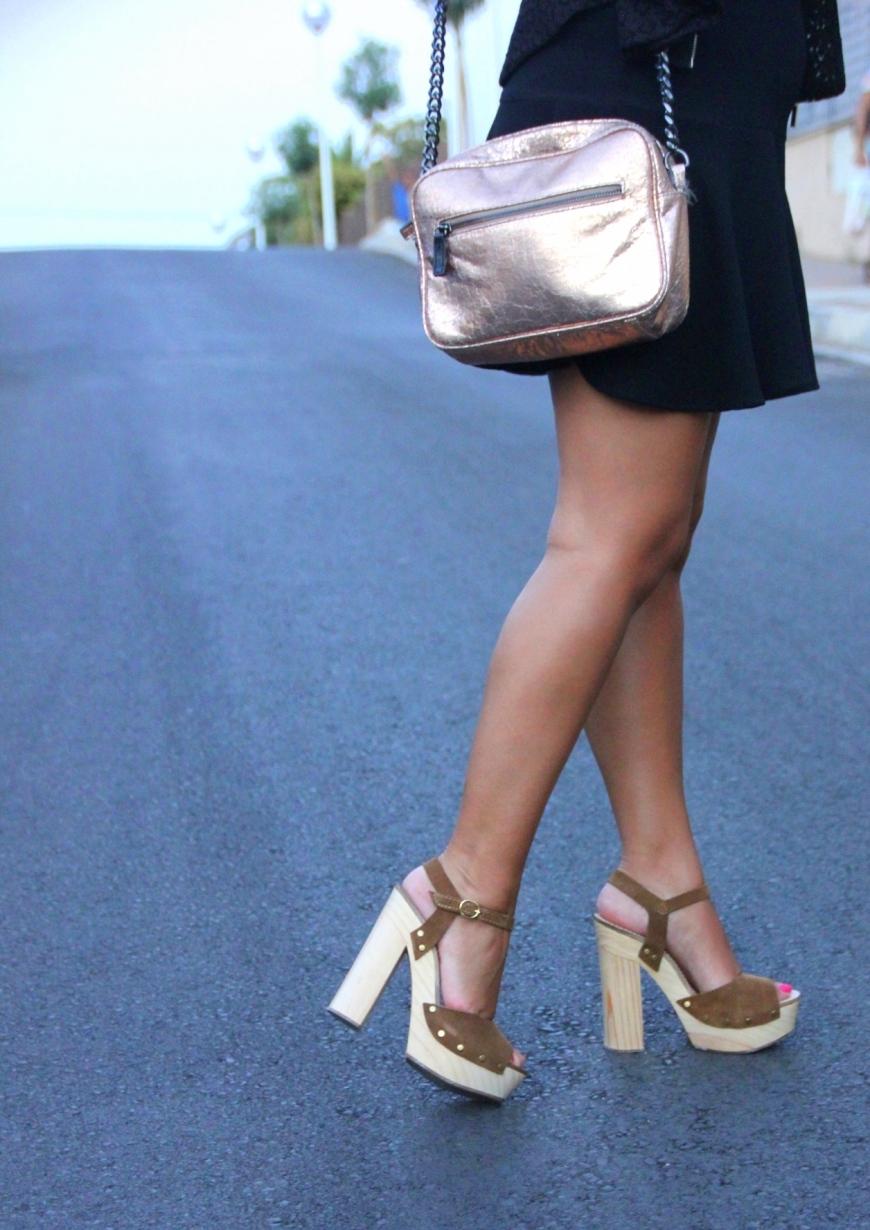 wood suede high heel sandals