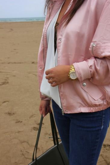 chaqueta bomber raso rosa