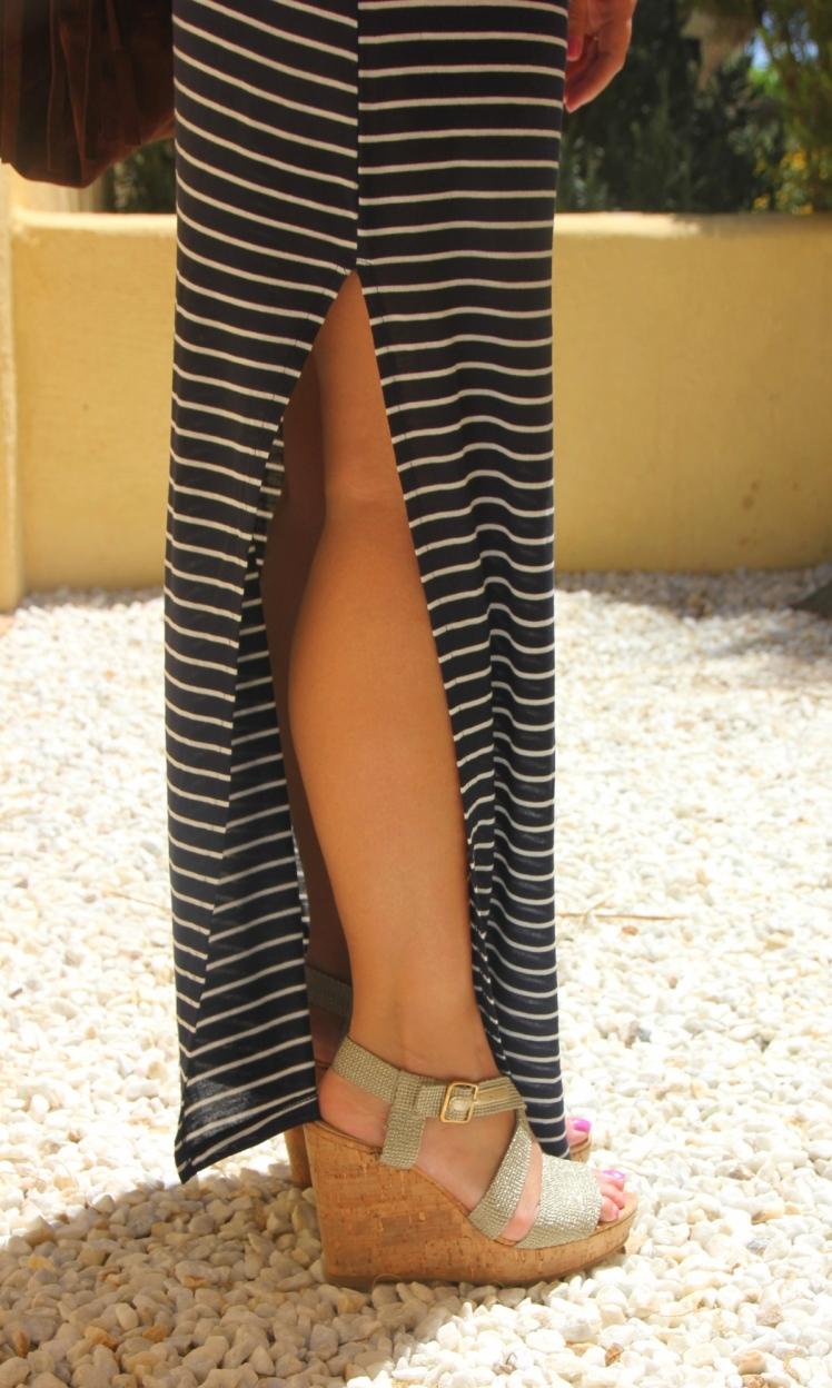 falda larga rayas azul blanca_cuñas doradas bimba&lola