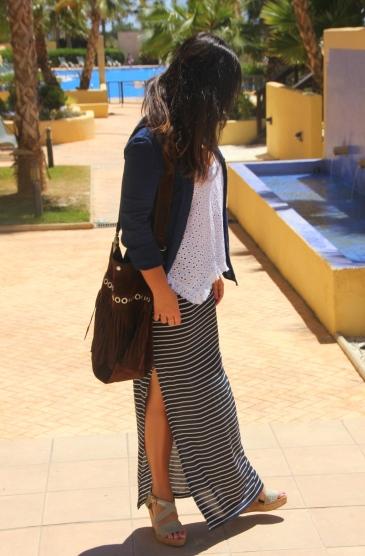 falda rayas marinera larga