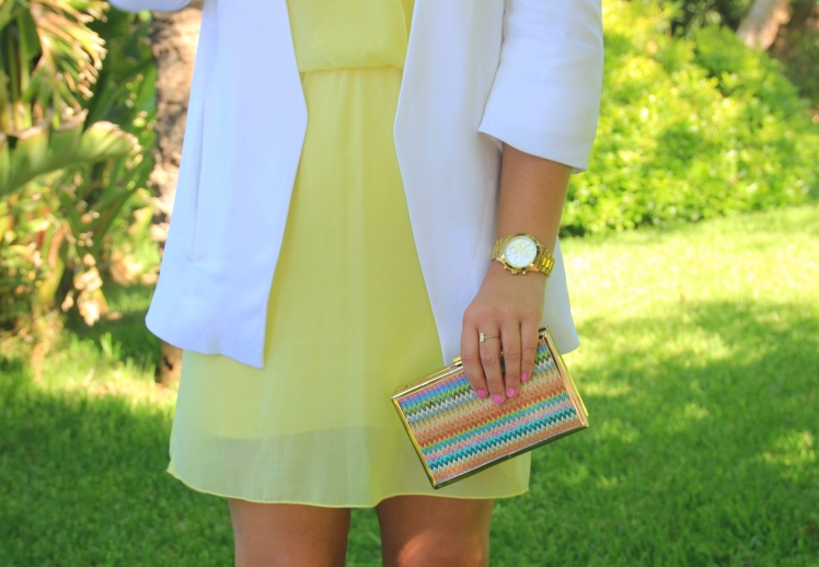 white blazer yellow dress