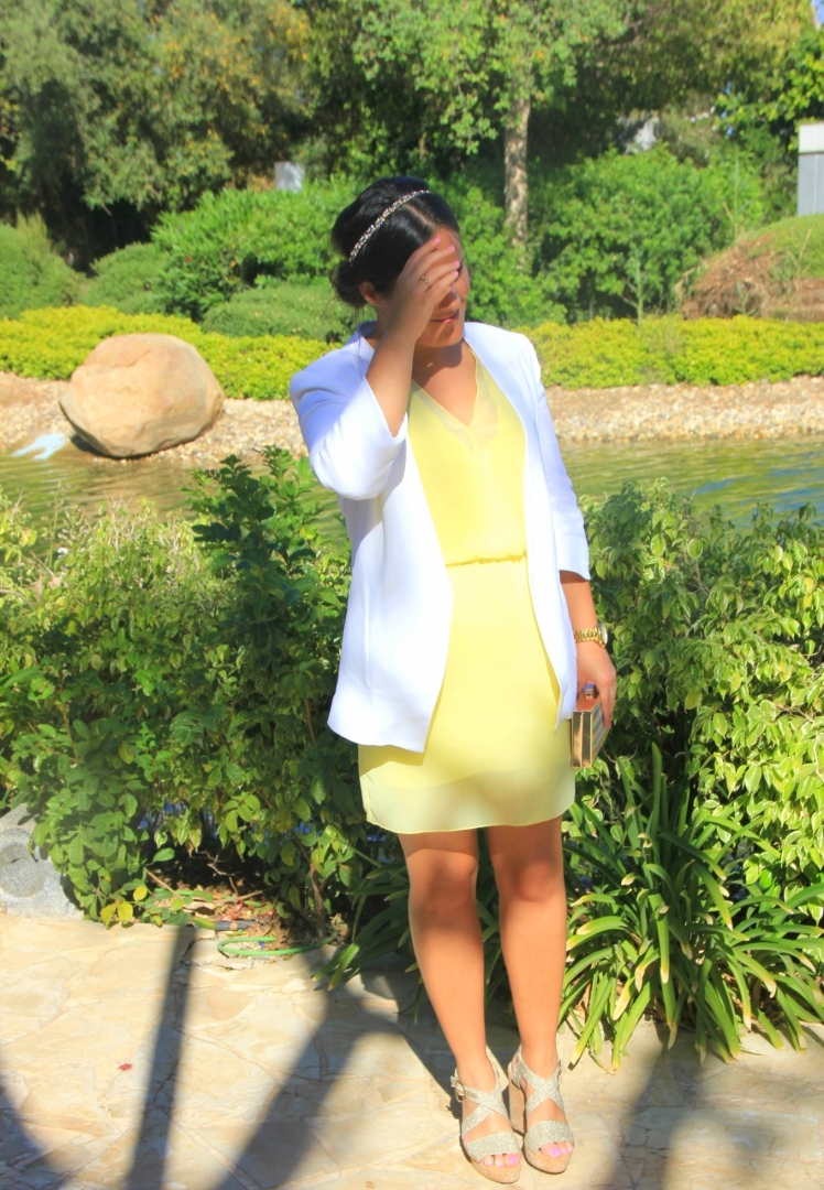 yellow dress white blazer
